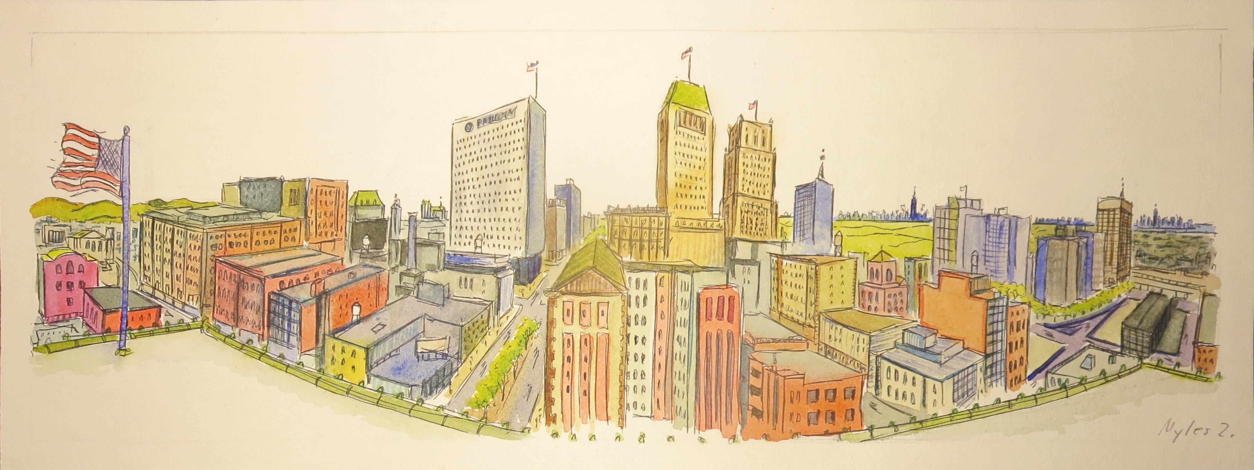 Newark Panoramic Watercolor