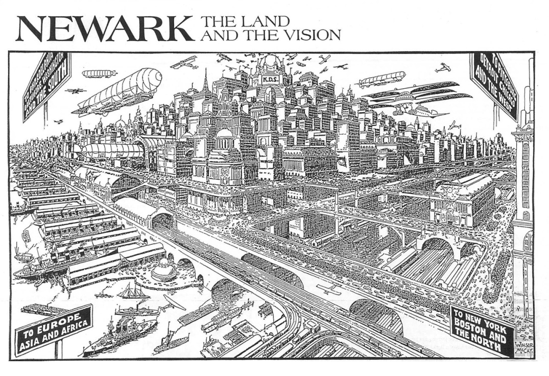 "Drawing by Winsor McCary, which first appeared in a 1928 article ""Newark 58 Years from Today""- when Newark would be 150 years from the year of its 1836 incorporation as a city."