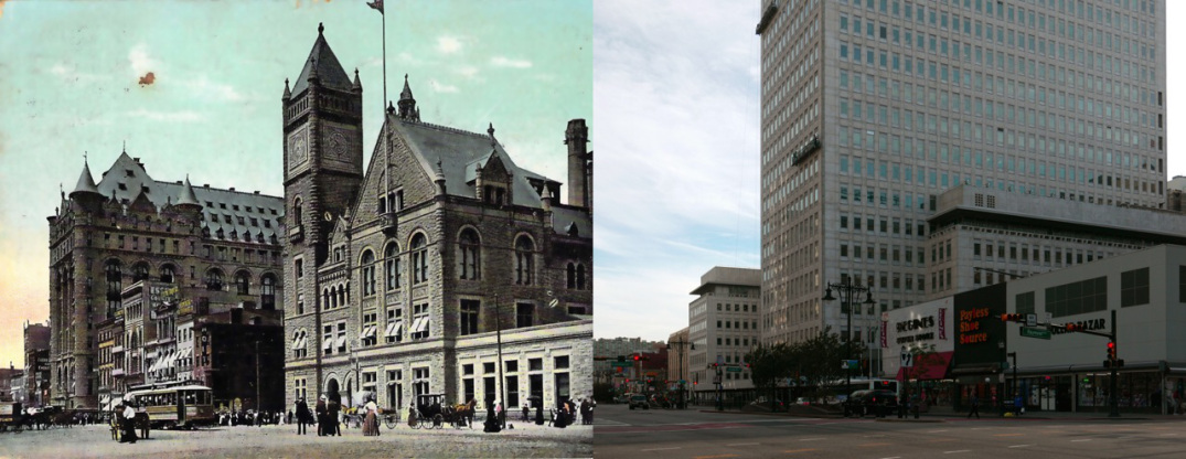 In the turn of the century view of downtown Newark, one sees the architectural styles popular at the time: stone and granite victorian and gothic structures. At left, is Prudential's old headquarters demolished in 1956. At left, is Newark's central post office. Unlike today, the postal service was central to the functioning of society and was often the most important structure in a town. This post office happens to be in the Romanesque Style popular in the 1880s. After the post office outgrew this structure and moved elsewhere in 1934, the structure was soon demolished in the 1940s to 1950s to construct an unimpressive dollar store. All buildings in this image are currently demolished.