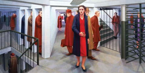 "George Tooker depicts the alienation of urban life in his 1950 painting ""Subway."""